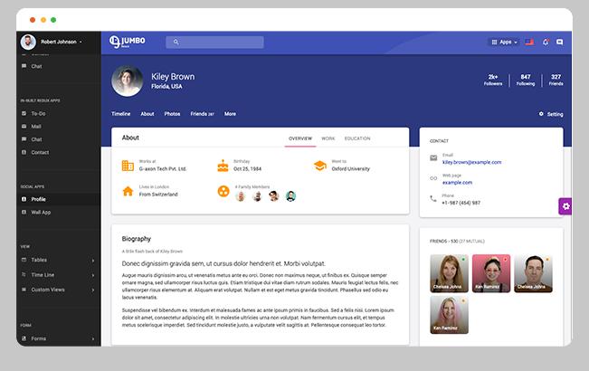 user profile app profile app material design admin dashboard template