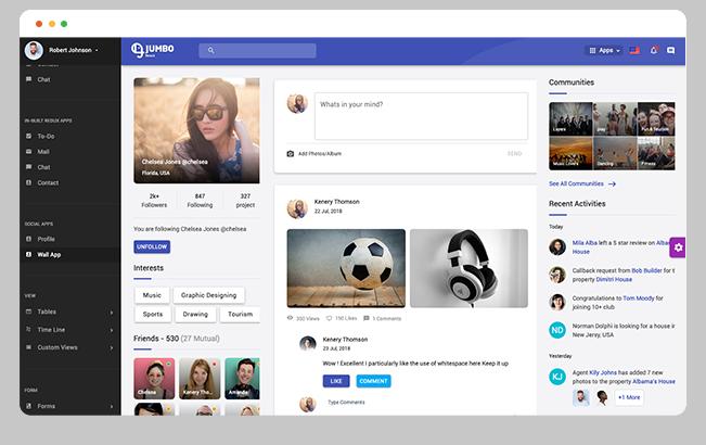 social media wall app material design admin dashboard template