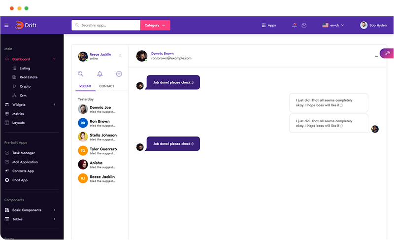 chat app page app uiux ui design in drift angular admin dashboard template by g-axon