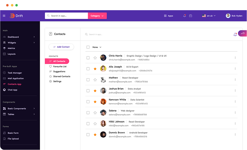 contacts app design in drift angular admin dashboard template by g-axon