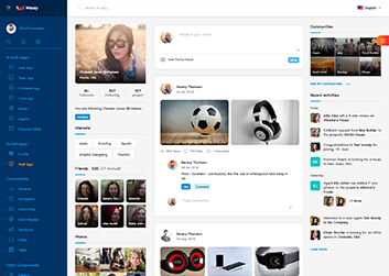 unique custom creative social media wall app page design in ant design react admin dashboard template wieldy by g-axon