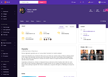 social media profile page design ui in drift angular admin dashboard template by g-axon