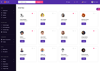 user view in grid layout in drift angular admin dashboard template by g-axon