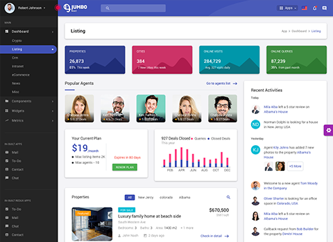 listing dashboard material design admin template