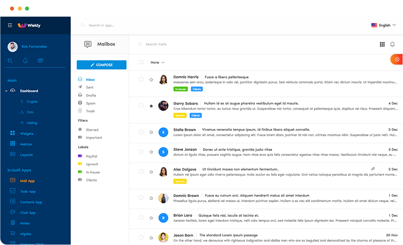 email app mail app react ant design admin dashboard template wieldy by g-axon