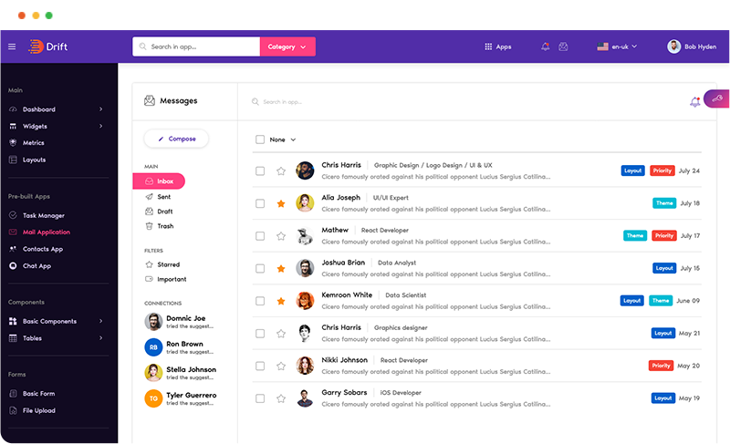 mail app email app ui ux design in drift angular admin dashboard templaye by g-axon