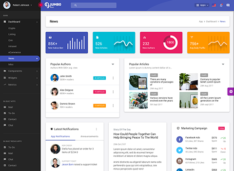 news admin dashboard template by best jumbo react material design admin template