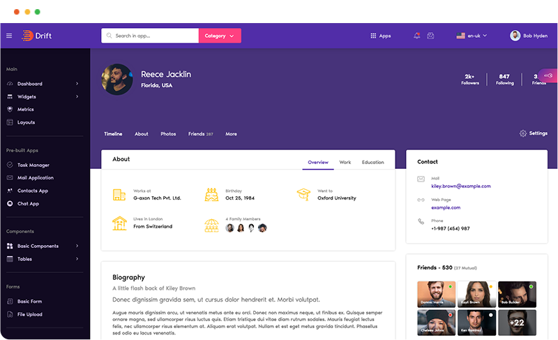 social media profile page app design in drift angular admin dashboard template by g-axon