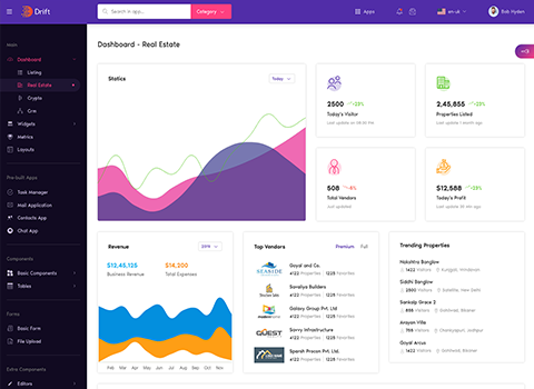 real estate dashboard real estate admin panel page design in drift angular admin dashboard template by g-axon